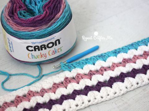 I finally finished my Caron Chunky Cakes Crochet Cluster V-Stitch Blanket! You've probably been seeing my progress over Instagram and now I'm ready to share the pattern! This blanket features one of my favorite new yarns: Caron Chunky Cakes. This yarn is currently available in Michaels Craft Stores and is the newest member of the …