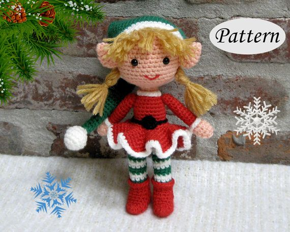 PATTERN  Christmas Xmas Elf Girl  Amigurumi  by CrochetCuteDolls