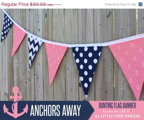 SALE - Anchors Away - Pink Navy Chevron & Polkadot Nautical Fabric Bunting Banner   - party decor, nursery, playroom, photo p