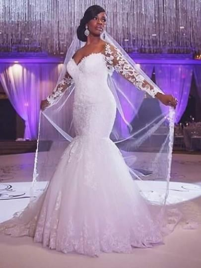 The off shoulder long sleeve lace mermaid wedding dress sexy off the shoulder, tulle material, dry clean only, hourglass body shape, natural waist, lace-up back