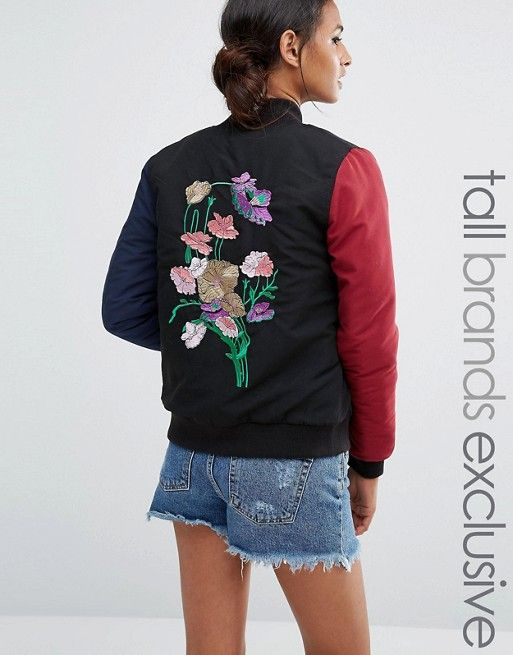 Daisy Street Tall | Daisy Street Tall Contrast Bomber With Floral Embroidery