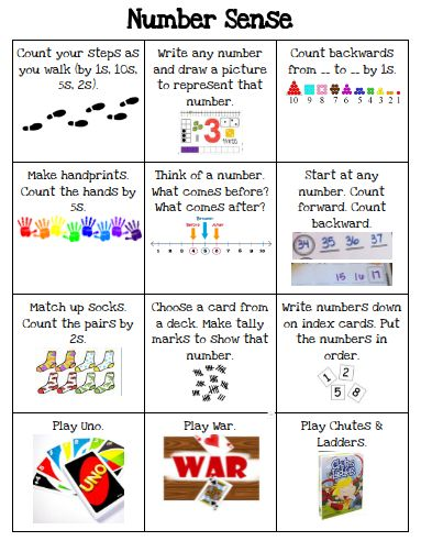Number Sense Choice Board