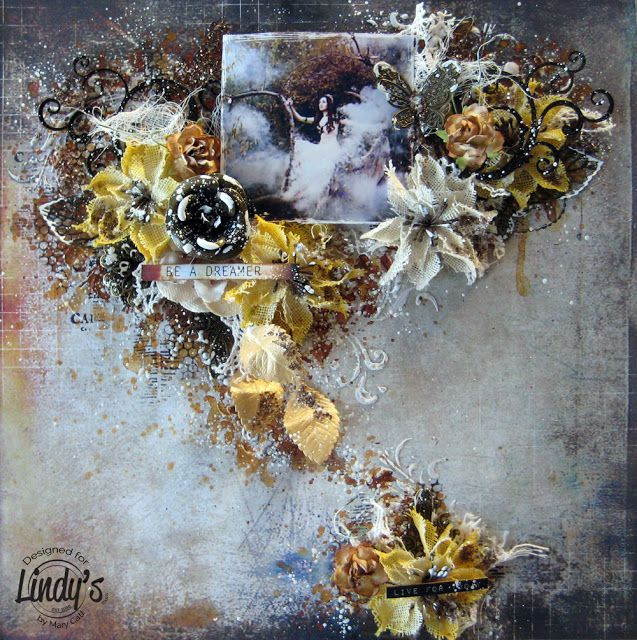 Mary's Crafty Moments: ''Be a Dreamer'' - DT Mixed Media Layout for Lindy...