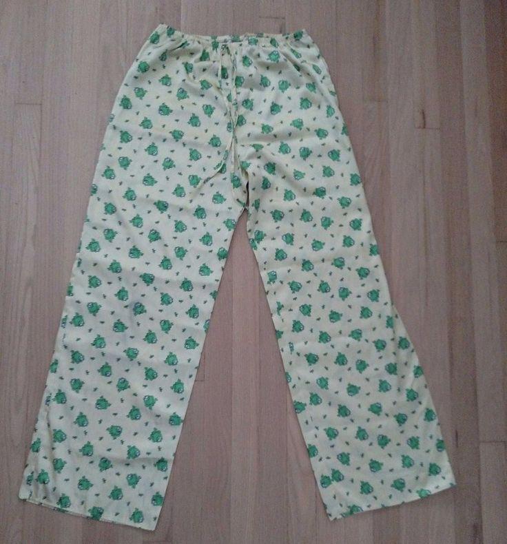 Frog Dragonfly Adult Pajama Pants Size Large L Yellow Shut Eye Like Satin Wow #ShutEye #PajamaBottoms