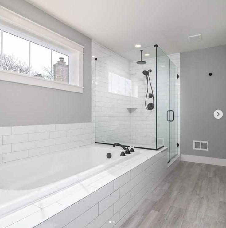 Modern Farmhouse Bathroom. Subway tile, white subway tile ... on Farmhouse Bathroom Tile  id=94529