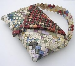 purse made from wallpaper and embellished with beads - yum