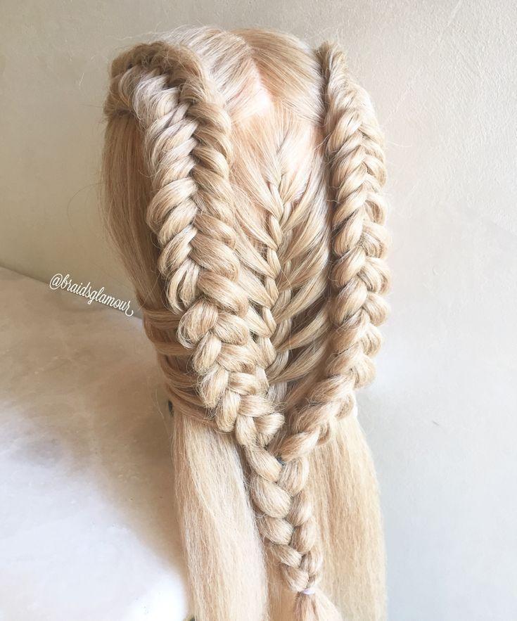 Dutch fishtail/mermaid braids combo