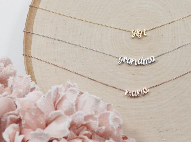 Cursive Grandma Necklace, You Choose Color, Gift for Her, Mother's Day Gift, Grandmother, Nana, Mema, Mimi, Gigi, Yaya by LittleMissLilyan on Etsy https://www.etsy.com/listing/235988873/cursive-grandma-necklace-you-choose
