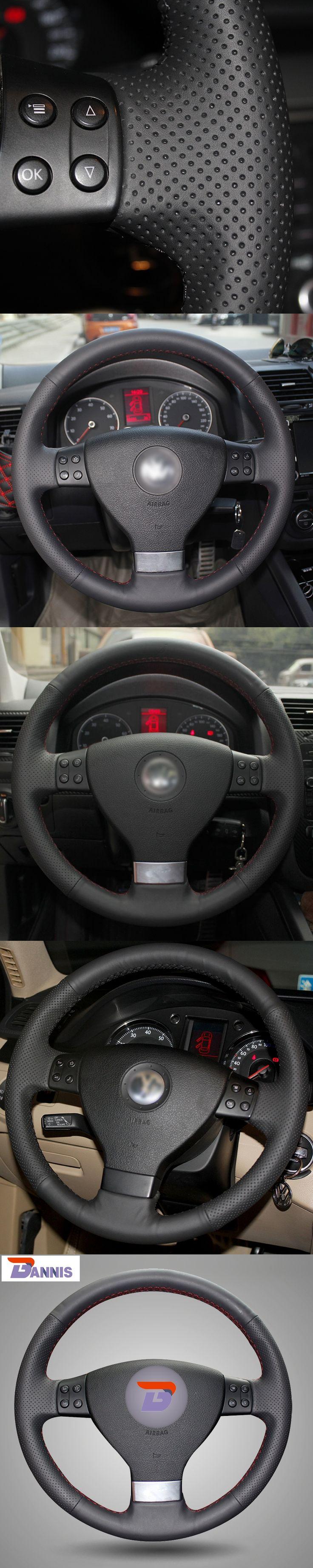 Black Artificial Leather  Steering Wheel Cover for Volkswagen Golf 5 Mk5 Sagitar Magotan VW Passat B6 Jetta 5 Mk5 Tiguan 07-2011