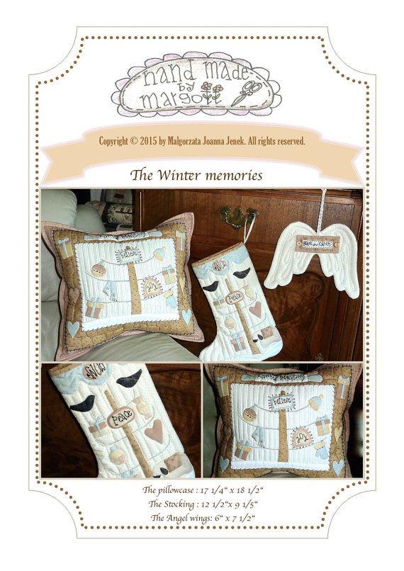 Elegance Quilt pattern: Winter memories PDF von MJJenekdesigns #quilt #pdfpattern #handappliqué #sewing #patchwork #pattern #pastels #pillow #winter