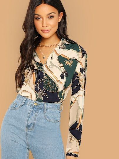 57cd540ff0 Chain Print Color Block Blouse | Clothing|Weekend Casual | Shirt blouses, Long  sleeve shirts, Ruffle blouse