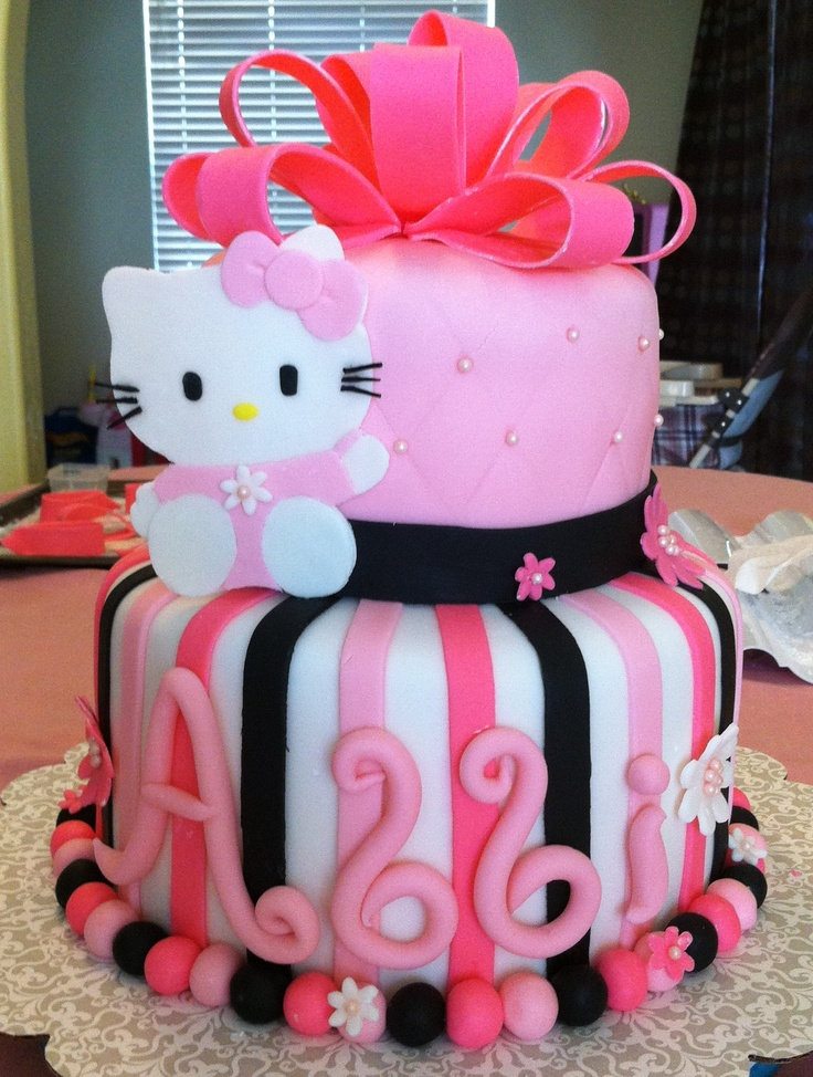 Hello Kitty Cake I made for my daughters 6th birthday party