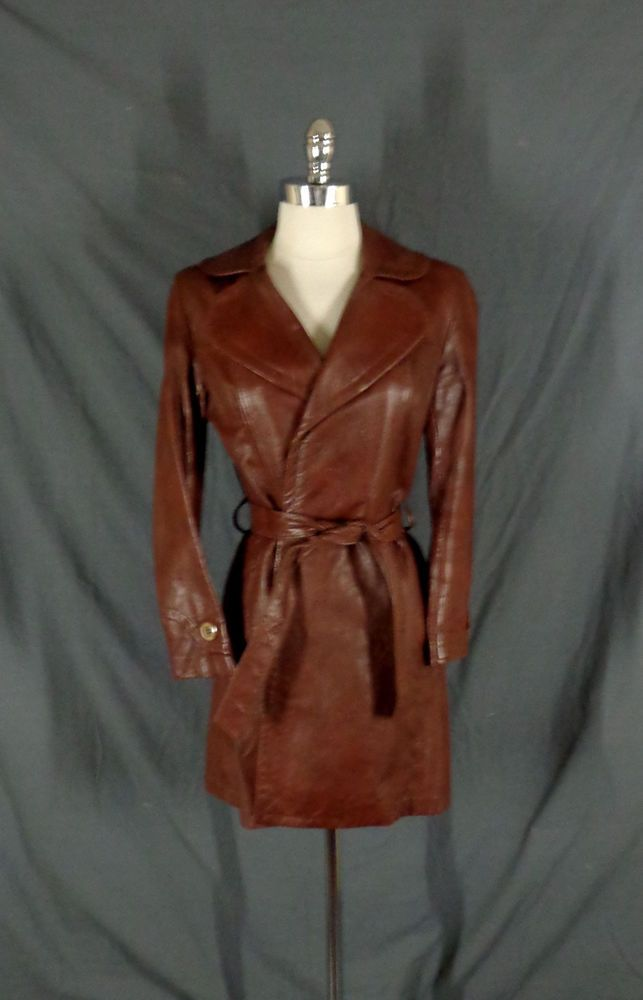 bf232319 Vintage Lady Scully Women's Brown Leather Tie Waist Trench Style ...