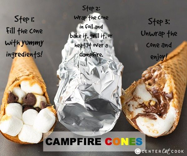 Camp Fire Cones - line the cone with peanut butter. Then stuff it with mini marshmallows and chocolate chips. Once it is stuffed to the brim, wrap it in foil to prep it for heating in oven, over grill or over a camp fire.  Recipe: http://www.centercutcook.com/campfire-cones/