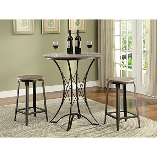 Charmant Black 3 Piece Bar Height Dining Set, Includes Round Bar Table And 2 Bar  Stools | Furniture Restoration | Pinterest | Round Bar Table, Round Bar And  Dining ...