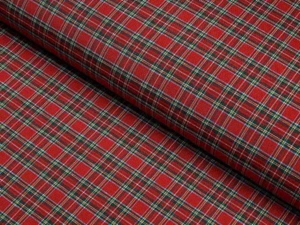 Dekorační látka LONETA vzor LO-241 červené káro – šířka 160cm – VášBytovýTextil.cz | 35 prodejen Bytový textil Škodák