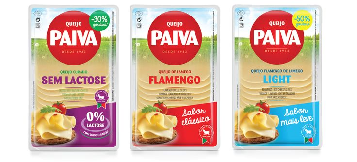 Gama de queijos fatiados flamengo Paiva #packaging #design #food #cheese #flamengo #classic #lactosefree #light