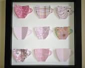 Pink Tea Cups, 3D Paper Art