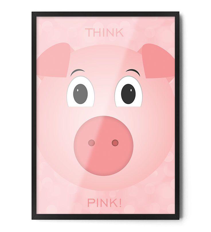 Plakat THINK PINK www.foxartstudio.pl