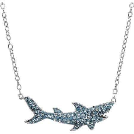 Luminesse Swarovski Element Sterling Silver Shark Necklace, 17 inch, Women's