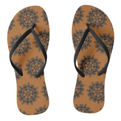 Mandala black outline flower on deep orange flip flops - black gifts unique cool diy customize personalize