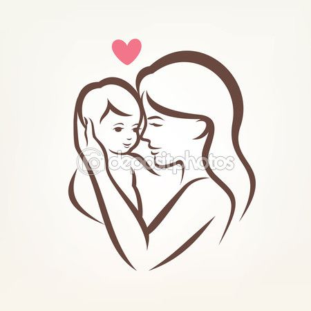 Mother and son stylized vector silhouette, outlined sketch of mo — Stock Illustration #72987695
