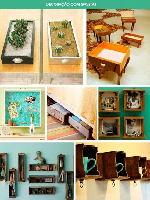 Repurposed Drawers (link is in Spanish...i think).  Just look at the pictures :-)