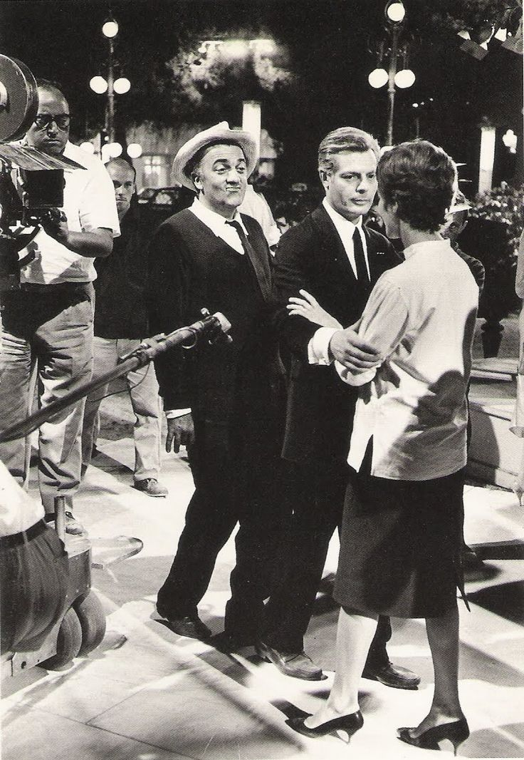 """With Marcello Mastroianni and Anouk Aimée, on the set of """"8½"""""""