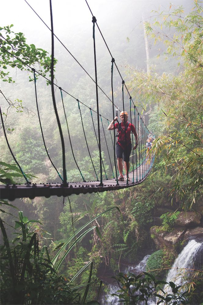 A suspension bridge in the Dong Hua Sao National Protected Area.