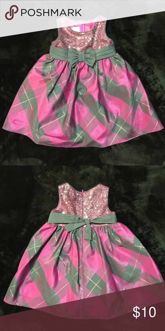 Toddler Holiday Dress! NWOT.  Never worn.  Toddler size 24M.  Fuschia, gray, and gold in color with gray sequins. Dresses Formal