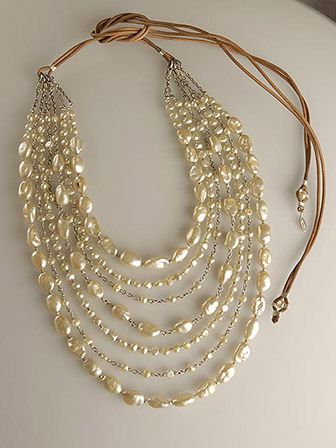 Leather and pearls - perfect use of not so perfect pearls