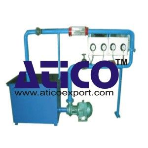 The consists of a high discharge 5HP monoblock centrifugal pump (440 Volts, 3 Phase) pumping water from an MS tank of 400 liters capacity through an orificemeter, a transparent venturimeter and suitable flow control valve back into the tank in a closed circuit form.  https://www.aticoexport.com/product_category/fluid-mechanics-lab