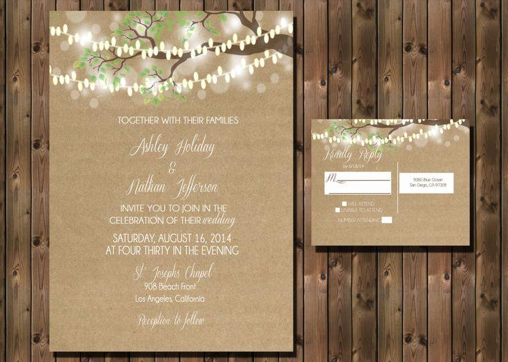 Rustic Wedding Invitation with Lights in Tree on by RockStarPress