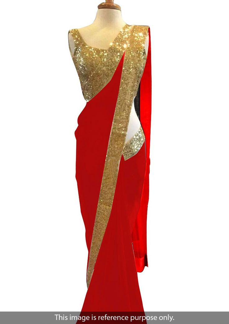 Georgette Border Work Plain Red Bollywood Style Saree - 1321-R