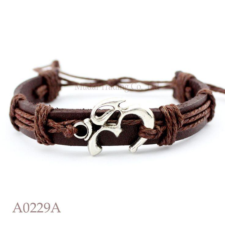 (10 pieces/lot) ANTIQUE SILVER YOGI YOGA OM OHM CHARM Adjustable Leather Cuff Bracelet for Men & Women Friendship Casual Jewelry