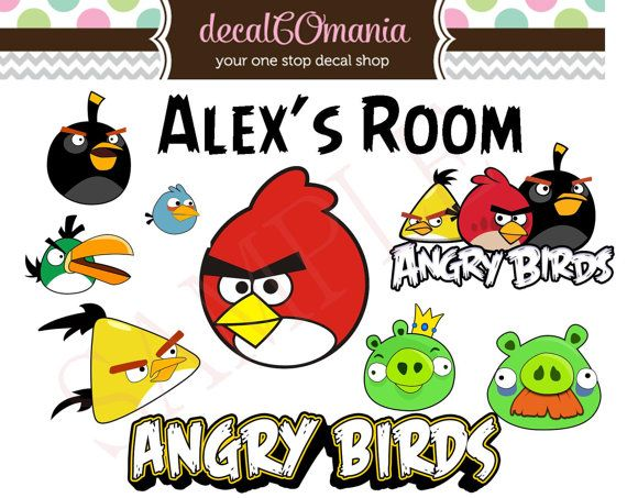 10 Precut Peel & Stick Vinyl Angry Birds Room by decalCOmania100, $19.95