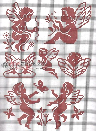 Angels 1 (no color chart available, just use photo/pattern chart as your stitch/color guide... or choose your own colors):