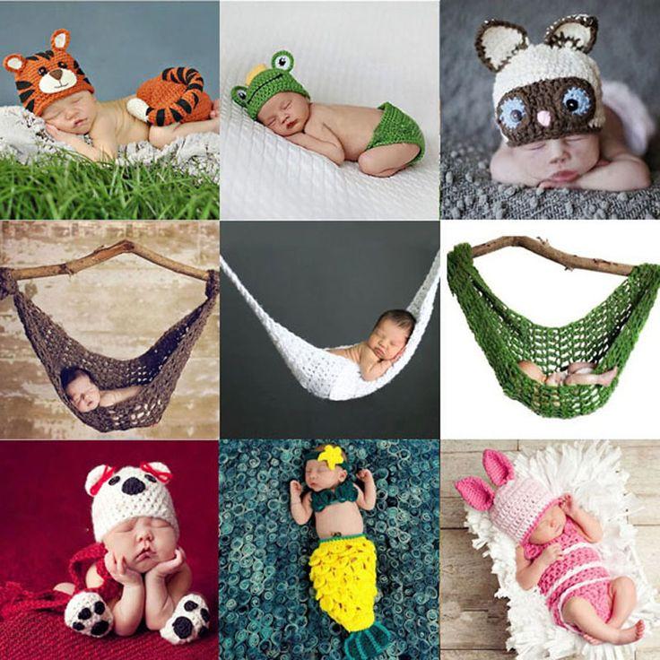 Cute Baby Animal Hat Set Neonato Crochet Del Knit Abbigliamento Fotografia Puntelli Foto Outfit Amaca Cocoon Costume SG047