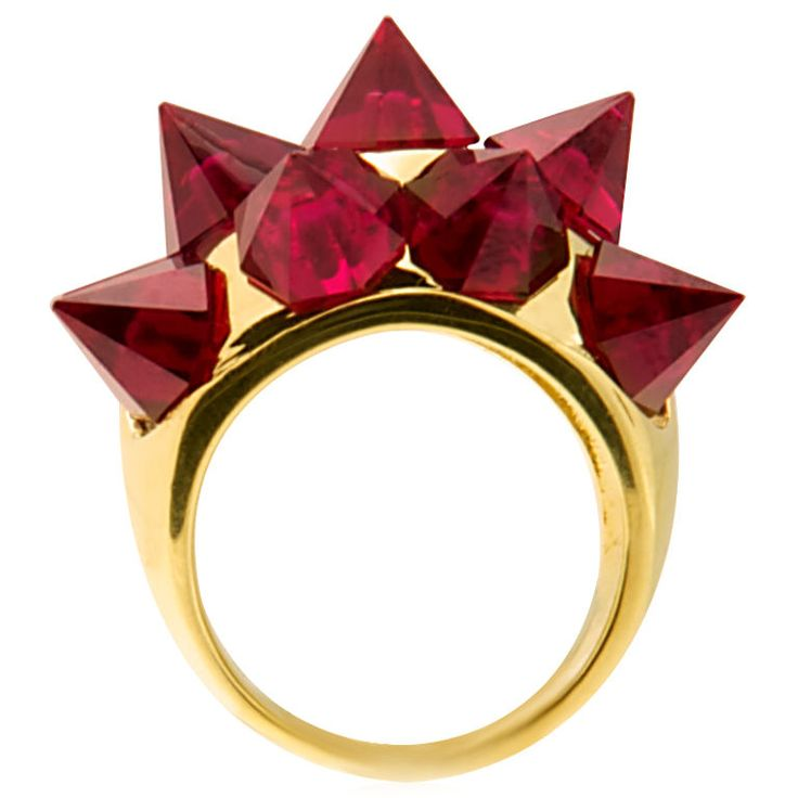 """Impressive """"Spike"""" Ring with Garnets in Gold"""