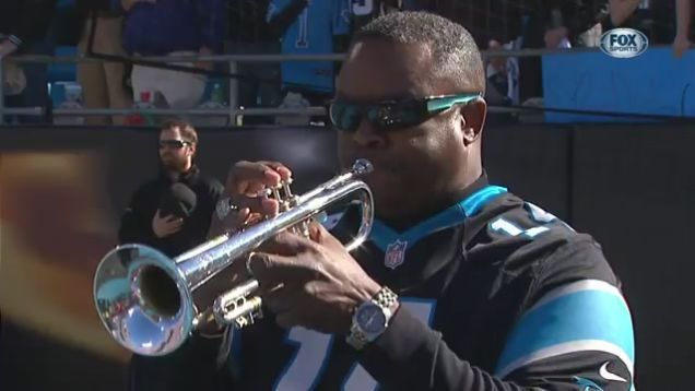"Trumpeter Jesse McGuire performed an outstanding rendition of ""The Star-Spangled Banner"" before today's 49ers-Panthers game, and really, musicians should be used for the national anthem more often."