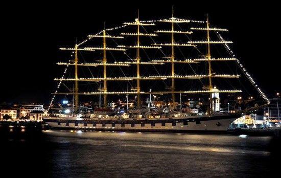Royal Clipper at night