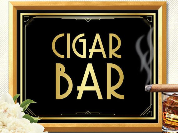 CIGAR BAR SIGN cigar bar Great Gatsby decorations by manyprints