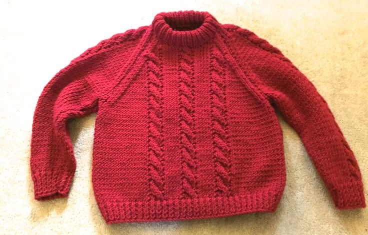 Red Boys Girls Hand knit sweater pullover Holiday Christmas Winter Ski SALE Size 5?? by oodlesofrandomstuff on Etsy