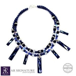 Night Blue Jewel, Hancrafted by AR Signature,Jewelry made with Genuine Swarovski® Crystal, Swarovski Pearls and Argentium Silver.  Crystal Color : Bermuda Blue  Inspiration come from The Beauty of sky in the night from mountain high