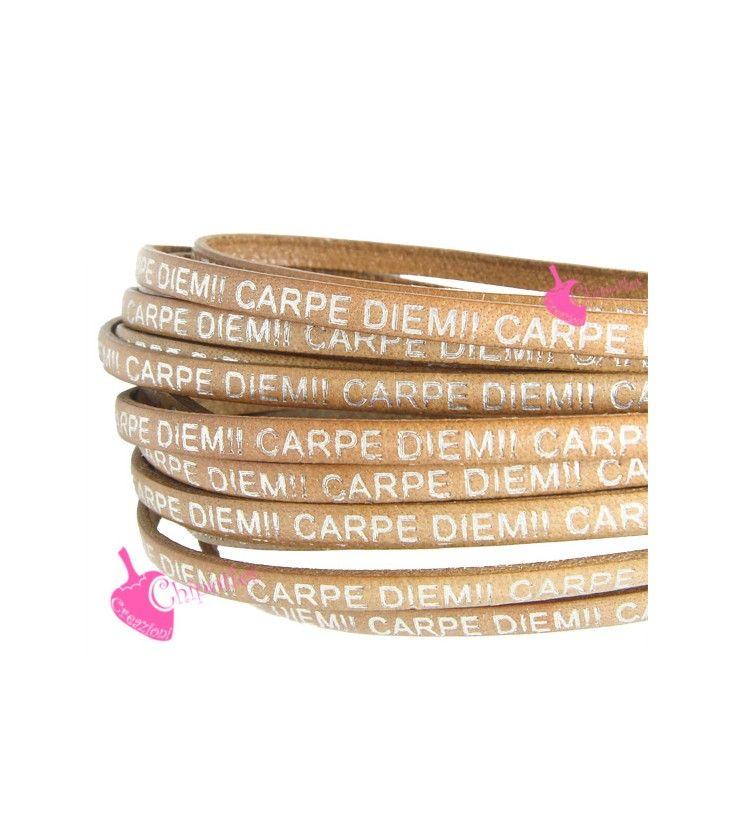 Cordoncino Pelle 5 mm con Scritta Carpe Diem color Cuoio