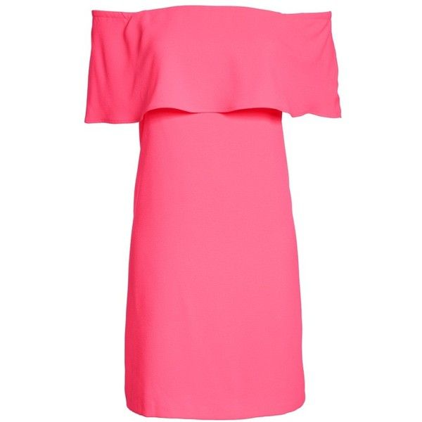 Women's Charles Henry Off The Shoulder Dress ($88) ❤ liked on Polyvore featuring dresses, pink dress, pink cocktail dress, off the shoulder dress, petite cocktail dress and pink off the shoulder dress