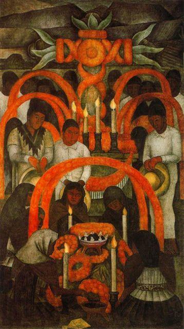 Diego Rivera. Dia de Muertos-La Ofrenda 1923-1924. Fresco. Secretaría de Educación pública. Tribunal de Fiestas. Mexico City. Mexico.