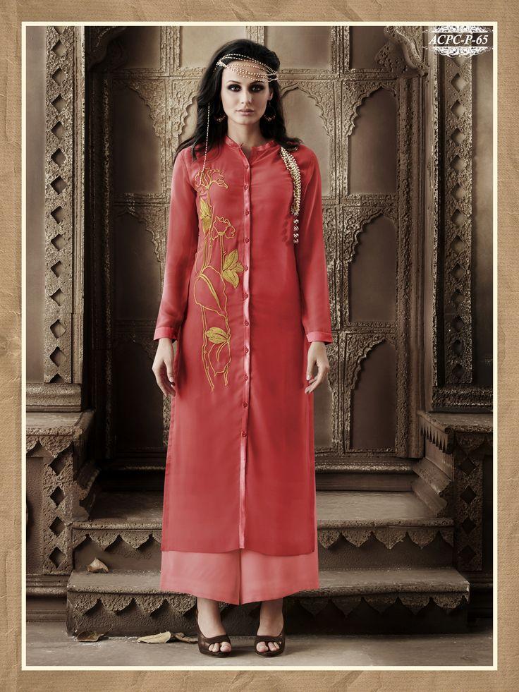 #Pink #Colour #Embroidery #Georgette 3Stitched #Kurti  @ www.glamyshop.com