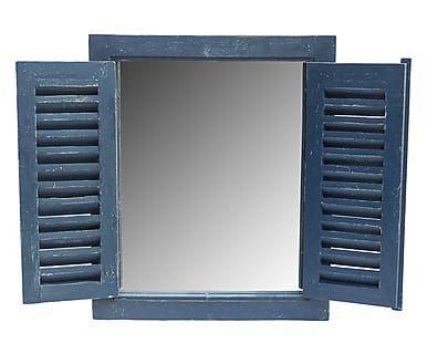Specchio da parete in legno e vetro Persiane blu, 58x70x3 cm