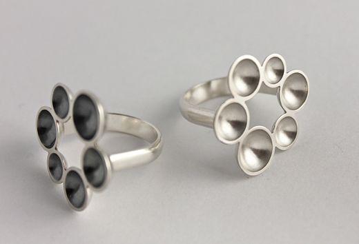 Annaleena Soini, Cupla-Kukka silver rings. #Finland